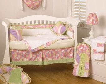 Pink Purple and Green Dot 6 Piece Crib Set