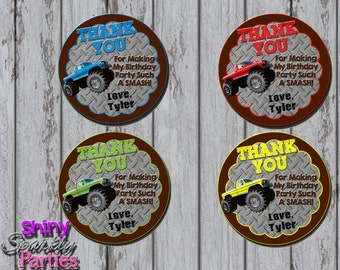 Printable MONSTER TRUCK FAVOR Tags - Monster Truck Party Favor Tags - Monster Truck Thank You Tags - Monster Truck Birthday Party Favor Tags