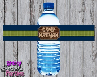 Printable CAMPING WATER Bottle LABELS - Camping Water Bottle Wraps - Camping Water Bottle Wrappers - Camping Birthday Party Water Labels