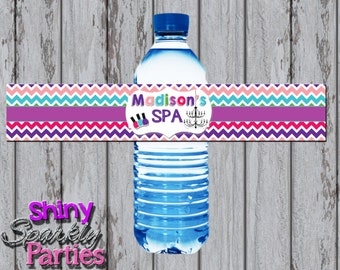 Printable SPA WATER BOTTLE Labels - Spa Birthday Party Water Bottle Labels - Spa Party Water Wrappers - Spa Party Decor - Spa Water Wrappers