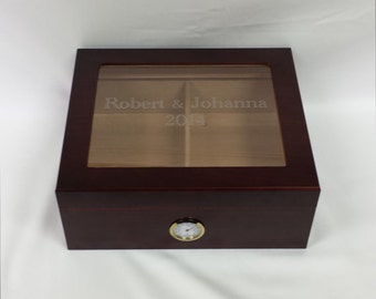 Engraved High End Glass Humidor Cigar Box, Wedding gift, Groomsman Gift, Best Man Gift, Wedding Party Gift, Personalized Humidor Grooms Gift