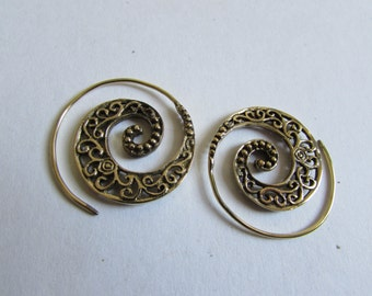 Spiral Brass Twirl Earrings handmade, Tribal Earrings, Nickel Free, Indian Jewellery, Gift boxed,Free UK postage BR2
