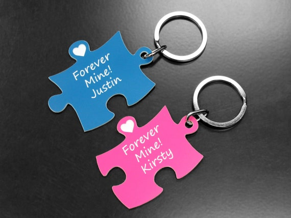 Personalised Puzzle Keyring - Pink & Blue. Gifts, Weddings, Father's Day, Christmas, Valentine, Birthday, Bachelor Party, Graduation.