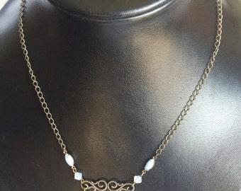 Light blue antique chain necklace