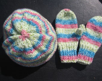 Toddlers  headknit Hat & Mitten Set  size1-2 years  pink, limes,tourquoises roll bottom hat and  mittens    wash, dry  wool ,acylic