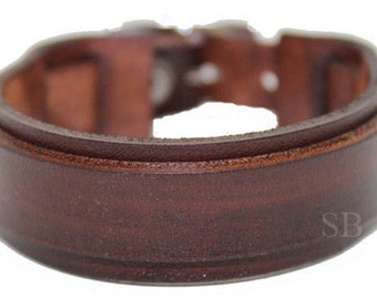 Leather bracelet genuine leather wristband first class leather cuff men's bracelet wrist band Brown