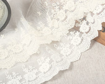 4.72 inches wide White Lace Trim, embroidered wintersweet lace, Retro floral Lace Fabric, vintage Bridal lace F0009