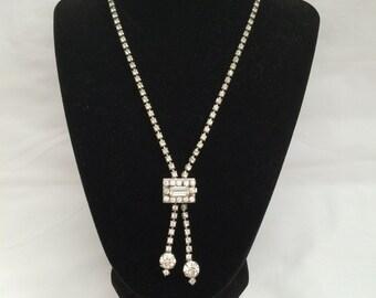 Unique Vintage Rhinestone Lariat Style Necklace