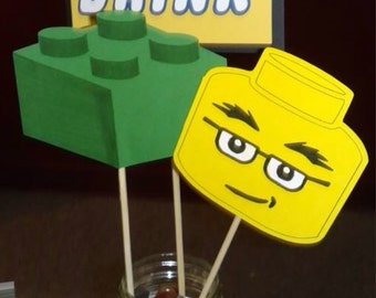 Handmade Lego Birthday Party Cupcake Toppers or Centerpiece Stakes