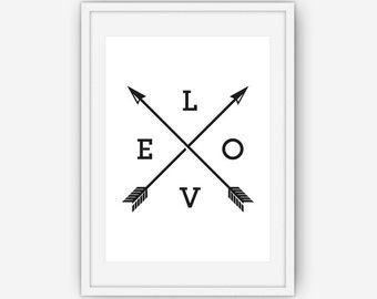 Love Arrow Print, Black and White Print, Arrow Wall Art,  Wall Art, Romantic Print, Printable, Instant Download
