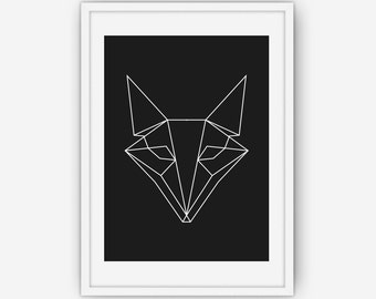 Geometric Fox Print, Fox Art, Black and White Fox Print, Geometric Art, Geometric Print, Wall Art, Printable, Instant Download