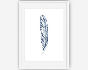 Navy Feather Print, Navy Blue Wall Art, Feather Wall Art, Feather Wall Print, Wall Art, Printable, Instant Download
