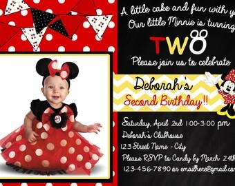 Minnie Mouse Polka Dot Birthday Invitation