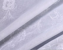 Fabric pure cotton batiste white embroidery flower very light transparent