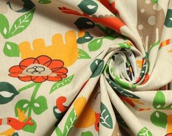 Fabric for children pure cotton beige wild animals monkey elephant giraffe lion zebra