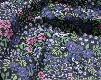 Fabric cotton acryl dark blue Mille Fleur coated table cloth water-resistant flowers