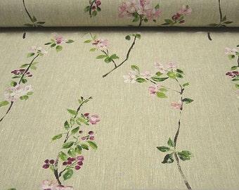 Fabric pure linen nature cherry blossom cherry