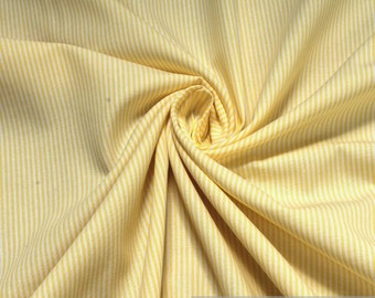 Fabric pure cotton match stripe yellow white 1,5 mm small stripe
