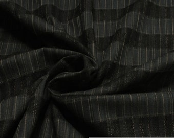 Fabric pure cotton stripes anthracite beige