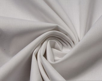 Fabric cotton elastane poplin white fine