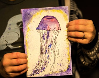6x9 inch Watercolor painting of a Jellyfish