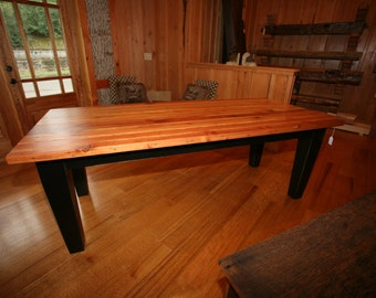 Reclaimed Salvaged Heart Pine Barn Lumber Dining Table w/ tappered wood leg base
