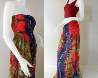 100 % Tie Dye Cotton 2 in 1 long  smock tube dress maxi long skirt (430)