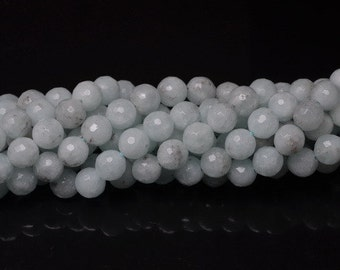 8 mm round faceted Natural Amazonite  bead  strand ( #J1035)