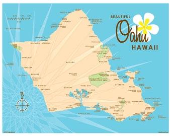 Oahu Map Print (Blue)
