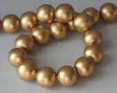 Gold Beads, Metallic Beads, Round Wood Beads, 20 mm, Large Beads, Chunky Beads, Lightweight Beads, Fast Shipping from USA