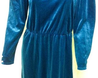 Vintage 1950's Style PARTY DRESS  --  Blue Velvet / Extra Small / Long Sleeve / Arnel - Nylon / 60's