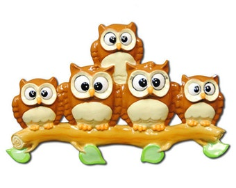 Personalized Owl Family of 5 Christmas Ornament