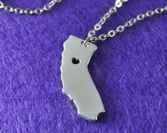 925 Sterling Silver California Necklace I heart California Necklace, Custom State Map Necklace , Personalized State Pendant State Jewelry
