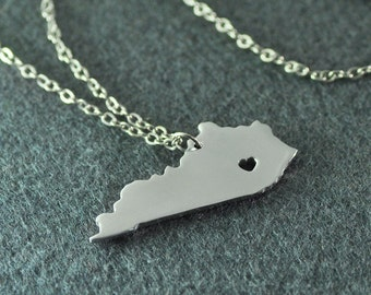 Kentucky Pendant,I heart Kentucky Necklace,Custom Kentucky Necklace, State Map Jewelry, Personalized Silver Pendant ,Map Jewelry