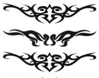 Tribal Scrolls Temporary Fake Tattoo Bold Body Art Transfer Waterpoof Fancy Dress