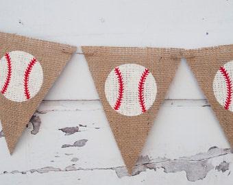 Baseball Burlap Banner, Baseball Banner, Baseball Decor, Baseball Party Sign, Sports Banner, Sports Party, B068