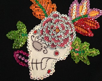 Hand Sewn Day of the Dead Skeleton/Floral Sequin T-Shirt Black Size Large