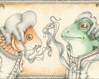 """Alice in Wonderland Wall Art, Alice in wonderland print, Alice in Wonderland Decor, Alice giclee Print, 8""""x10"""", """"The Footmen"""", Fish and Frog"""