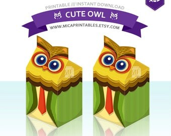 owl pillow box template - owl pillow gift boxes pdf template by happythought on etsy