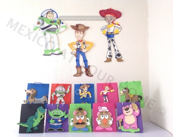 Toy Story Party Combo -EvaFoam- 3 Wall Decor , 12 Favor Bags and 12 Centerpiece picks Ideal for party decoration, or wall decoration