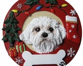 "Maltese Puppy Cut Ornament Personalized with your Dog's Name, Hand Painted with a brush, Measures 3.75"" Diameter"