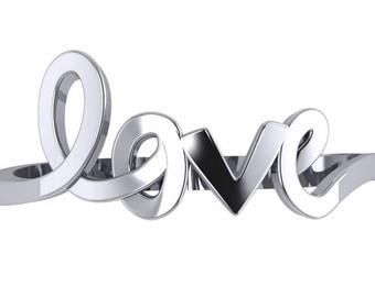 Love Script Ring 14K Gold | 14K Gold Love Ring | Love Ring