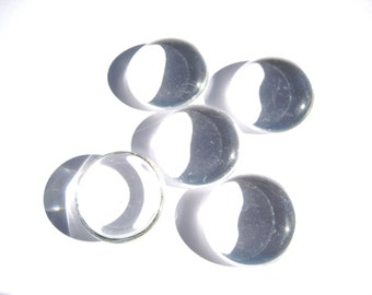 Clear Glass Cabochons 5 Pieces 24.2 mmCabochons Clear Round Cabochons Glass  Cabs  Round Cabochon Jewelry Supplies Small Lot Magnet Making