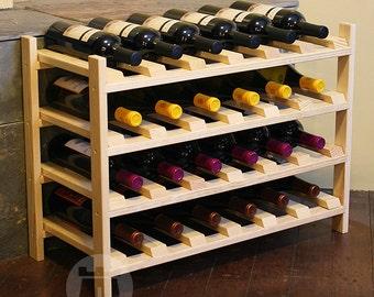 VinoGrotto Wine Rack 24 Bottle Pine Wine Bottle Shelf