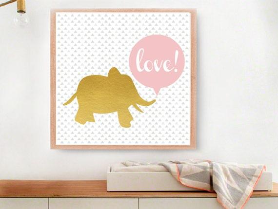 Gold Elephant Wall Decor : Items similar to baby gold elephant art print modern