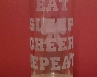 Etched Cheerleading Quote on glass tumbler