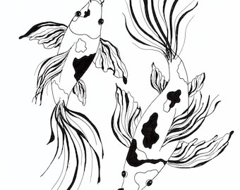2 Black & White Butterfly Koi, drawn in pen and ink.