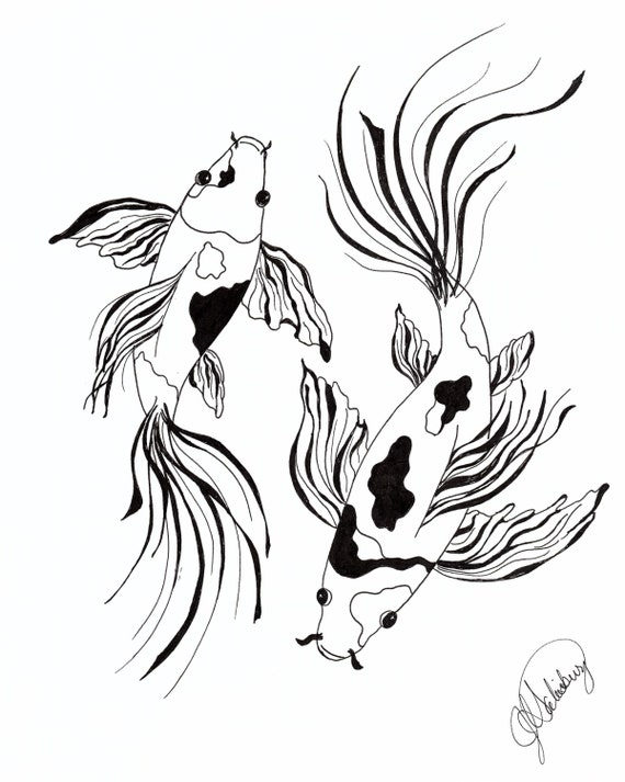 2 black white butterfly koi drawn in pen and ink for Black and white koi fish for sale