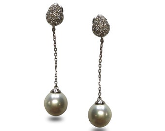 Tolly Pearl Earrings Set on Sterling Silver with White Cubic Zirconia Accent