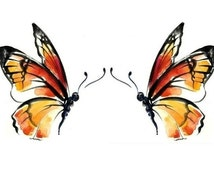 """TEMPORARY TATTOO - Set of 2 Monarch Butterflies or 3"""" x 2"""" Vintage Butterfly"""